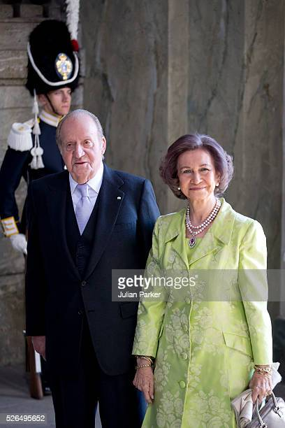 King Juan Carlos and Queen Sofia of Spain arrive for the Te Deum Thanksgiving Service at The Royal Palace Stockholm on the occasion of King Carl...