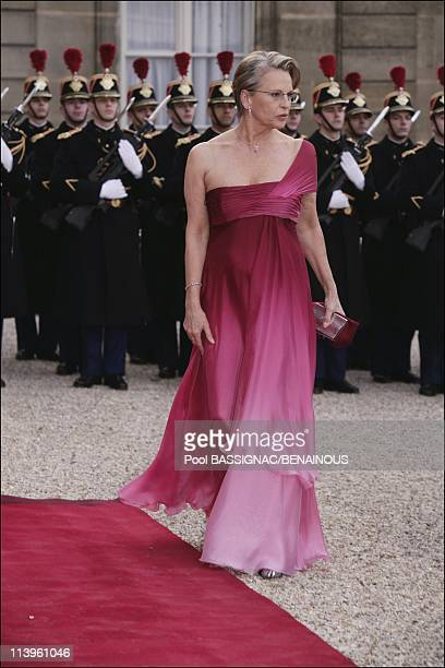 King Juan Carlos and Queen Sofia of Spain attend gala dinner at the Elysee Palace on first day of their 3day State visit to France In Paris France On...