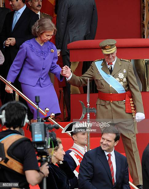 King Juan Carlos and Queen Sofia of Spain during Spain's National Day Military Parade on October 12 2008 in Madrid Spain Spain's National Day...