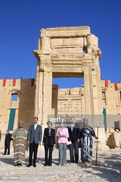 King Juan Carlos and Queen Sofia of Spain pose with Syrian President Bashar alAssad and First Lady Asma alAssad at an ancient site in the historic...