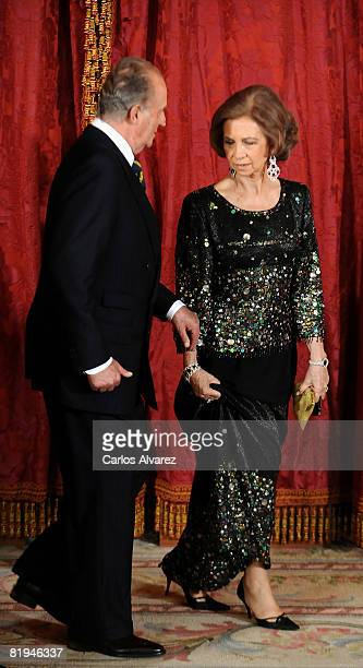 King Juan Carlos and Queen Sofia of Spain receive King Abdullah Bin Abdelaziz Al Saud of Saudi ArabiaJuly 15 2008 at the Royal Palace in Madrid Spain