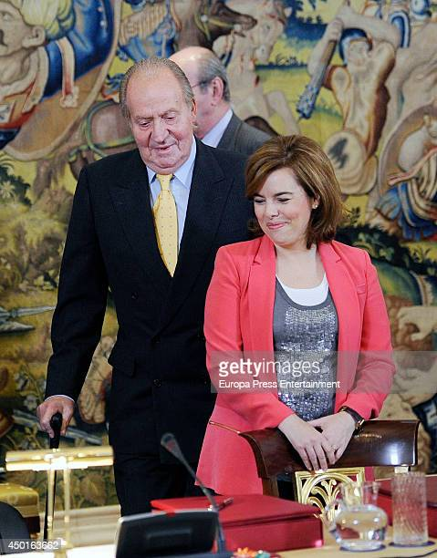 King Juan Carlos and Soraya Saenz de Santamaria attend meeting of Carolina Foundation on June 5 2014 in Madrid Spain