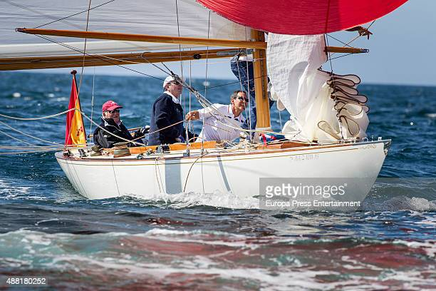 King Juan Carlos attends 'Rey Juan Carlos I El Corte Ingles Master' Sailing Trophy on September 11 2015 in Sanxenxo Spain