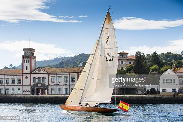 King Juan Carlos attends Sailing Trophy sailing for the first time on his new boat 'Bribon' on October 17 2015 in Sanxenxo Spain