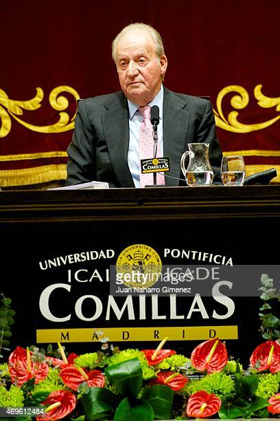 King Juan Carlos attends the presentation of the Chair of Latin American of the Pontificia Comillas University on April 13 2015 in Madrid Spain