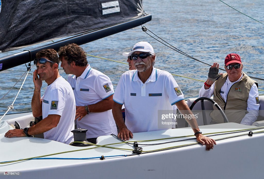 King Juan Carlos (R) attends the sailing regatta 'Principe de Asturias' trophy on September 3, 2017 in Baiona, Spain.