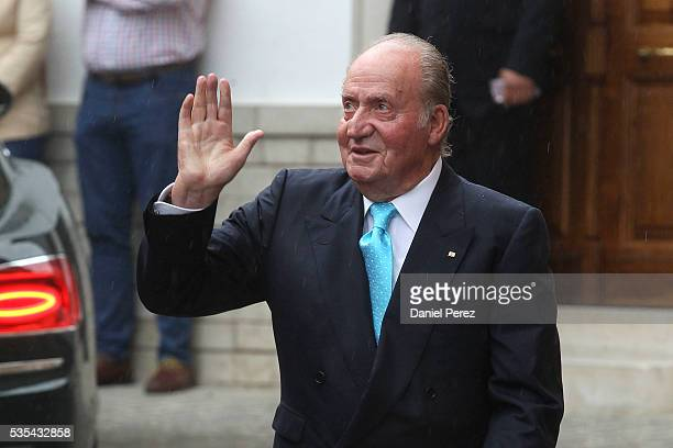 King Juan Carlos attends the wedding of Lady Charlotte Wellesley and Alejandro Santo Domingo at Illora on May 28 2016 in Granada Spain