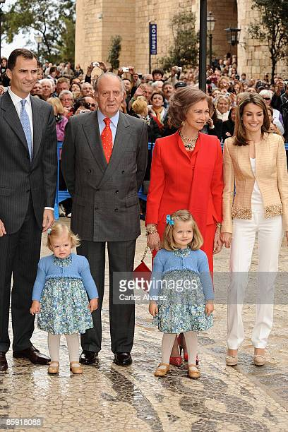 King Juan Carlos I and Queen Sofia of Spain Prince Felipe Princess Letizia and daughters Princess Leonor and Princess Sofia leave Palma de Mallorca...