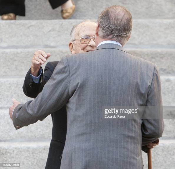 King Juan Carlos I and Santiago Carrillo attend the ceremony of commemoration of the coup attempt of February 23 after the food chaired by King Juan...