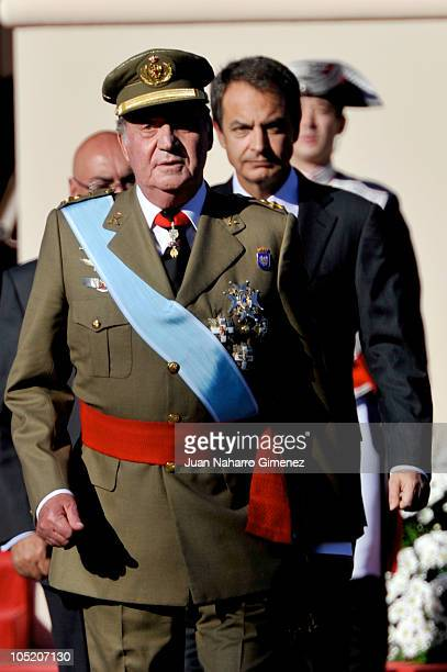 King Juan Carlos I of Spain and Jose Luis Rodriguez Zapatero attend National Day Military Parade in the Paseo de la Castellana on October 12 2010 in...