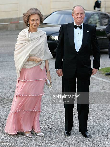 King Juan Carlos I of Spain and Queen Sofia of Spain arrive for HM King Carl XVI Gustaf's private dinner to celebrate his 60th Birthday at...