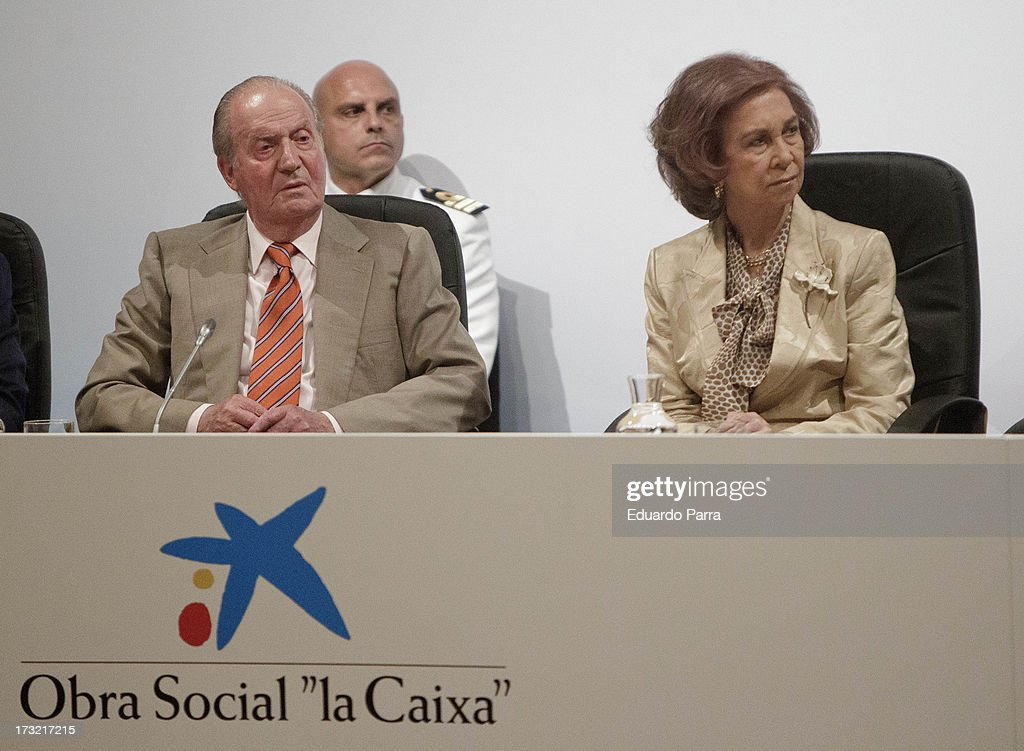 King <a gi-track='captionPersonalityLinkClicked' href=/galleries/search?phrase=Juan+Carlos+I&family=editorial&specificpeople=159452 ng-click='$event.stopPropagation()'>Juan Carlos I</a> of Spain and <a gi-track='captionPersonalityLinkClicked' href=/galleries/search?phrase=Queen+Sofia+of+Spain&family=editorial&specificpeople=160333 ng-click='$event.stopPropagation()'>Queen Sofia of Spain</a> attend delivery of La Caixa scholarships at Caixaforum on July 10, 2013 in Madrid, Spain.