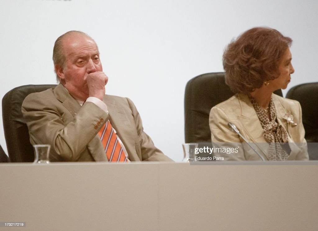 King Juan Carlos I of Spain and Queen Sofia of Spain attend delivery of La Caixa scholarships at Caixaforum on July 10, 2013 in Madrid, Spain.