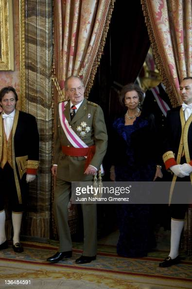 King Juan Carlos I of Spain and Queen Sofia of Spain attend the Pascua Militar Ceremony at Palacio Real on January 6 2012 in Madrid Spain