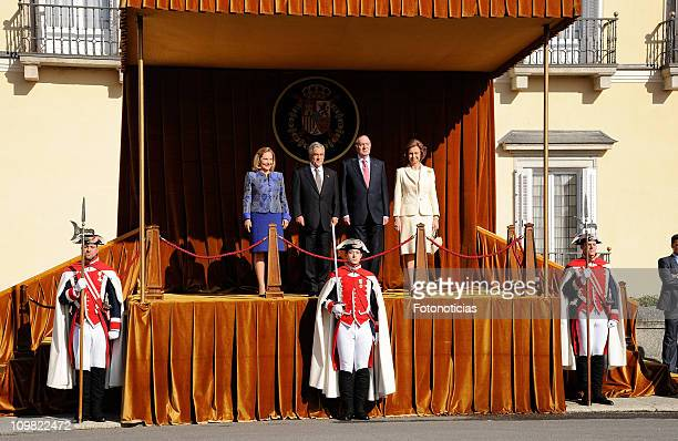King Juan Carlos I of Spain and Queen Sofia of Spain receive the President of Chile Sebastian Pinera and his wife Cecilia Morel de Pinera at El Pardo...
