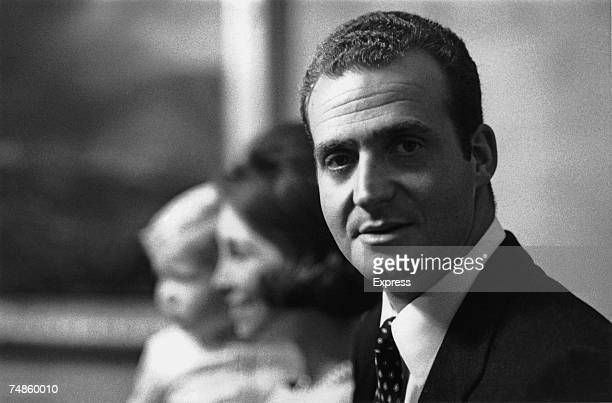 King Juan Carlos I of Spain at the Zarzuela Palace Madrid with his wife Queen Sofia and their baby son Felipe 22nd December 1969