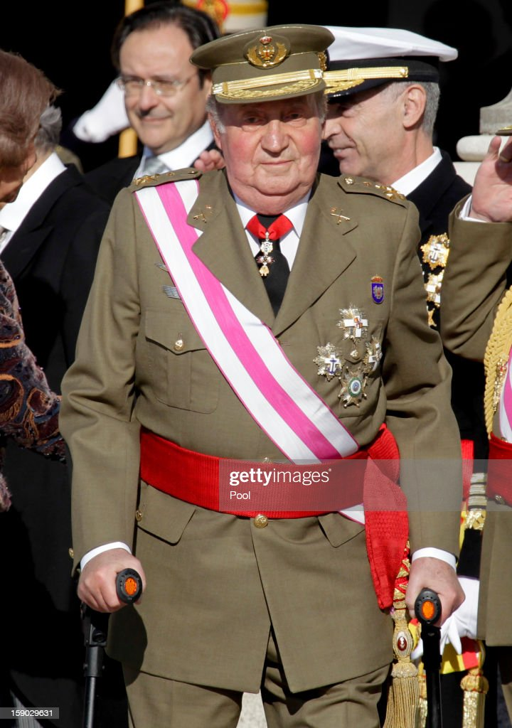 King Juan Carlos I of Spain attends new year's military parade at Royal Palace on January 6, 2013 in Madrid, Spain.