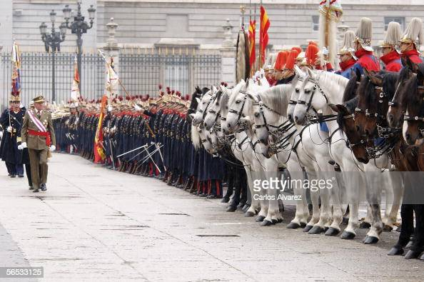 King Juan Carlos I of Spain attends the annual 'Pascua Militar' day at the Palacio Real on January 6 2006 in Madrid Spain The day has been celebrated...
