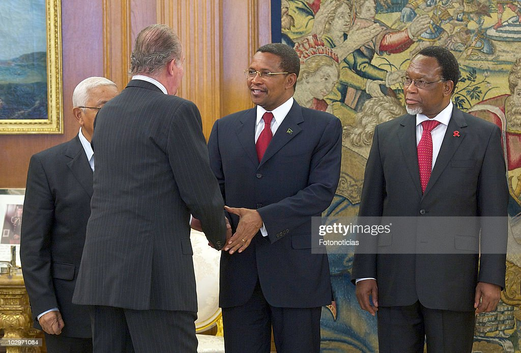 King Juan Carlos I of Spain receives President of the United Republic of Tanzania Jakaya Mrisho Kikweteat (C) and Vice-President of the Republic of South Africa Kgalema Petrus Motlanthe (R) at Zarzuela Palace on July 19, 2010 in Madrid, Spain.
