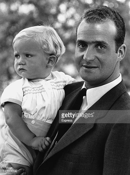 King Juan Carlos I of Spain with his baby son Prince Felipe 29th July 1969