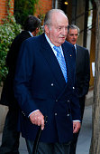 ESP: King Juan Carlos Leaves 'Paraguas' Restaurant In Madrid