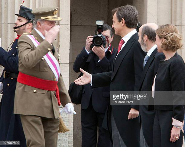 King Juan Carlos Jose Luis Rodriguez Zapatero Alfredo Perez Rubalcaba and Carme Chacon attend the Pascua Militar ceremony at Royal Palace on January...