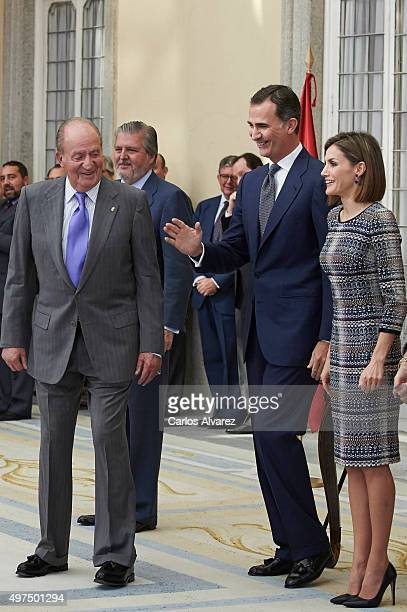 King Juan Carlos King Felipe VI of Spain and Queen Letizia of Spain attend the National Sports Awards 2014 at the El Pardo Palace on November 17 2015...