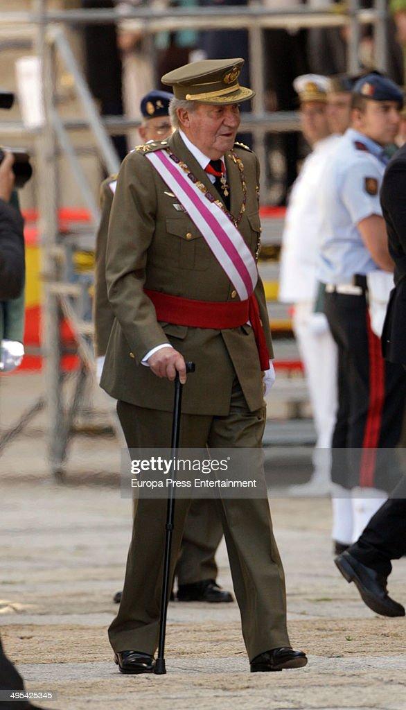King Juan Carlos of attends the biannual meeting of San Hermenegildo Order on June 3, 2014 in El Escorial, Spain.