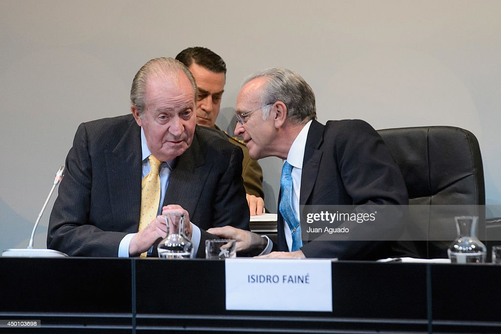 King Juan Carlos of Spain and CEO of Grupo La Caixa Isidro Faine Attend the Delivery of 'La Caixa' Scholarships in Madrid on June 5, 2014 in Madrid, Spain.