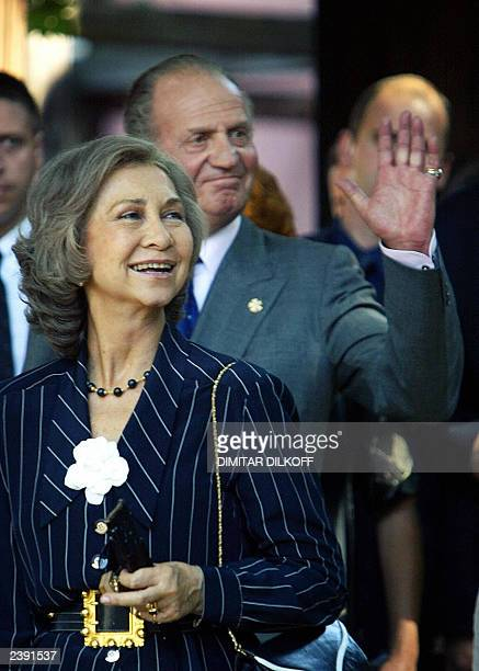 King Juan Carlos of Spain and his wife Queen Sofia wave to citizens during their visit to the old part of the town of Plovdiv some 120 km southeast...
