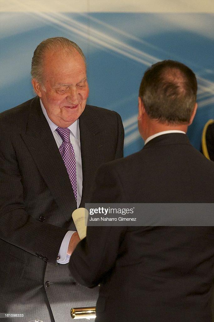 King Juan Carlos of Spain and Juan Diez Nicolas attend 'Sociology and Science Politics 2012 Awards' ( Premio Nacional de Solciologia Y Ciencia Politica 2012) at Zurbano Palace on February 12, 2013 in Madrid, Spain.
