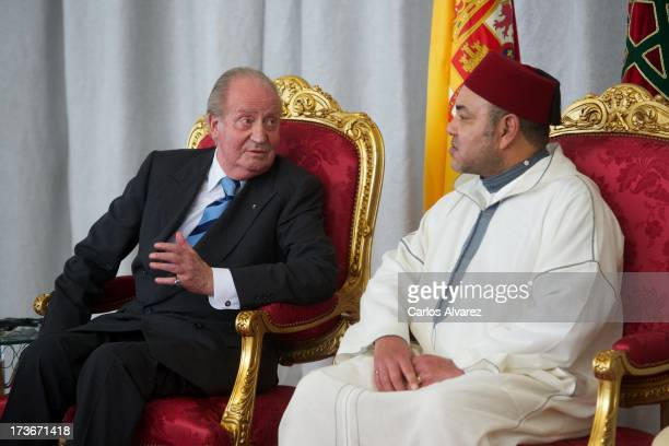 King Juan Carlos of Spain and King Mohammed VI of Morocco attends the inauguration of the '25 Anos de Cooperacion HispanoMarroqui' exhibition at the...