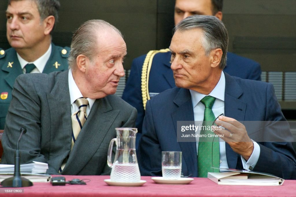 King Juan Carlos of Spain and Portuguese President <a gi-track='captionPersonalityLinkClicked' href=/galleries/search?phrase=Anibal+Cavaco+Silva&family=editorial&specificpeople=577282 ng-click='$event.stopPropagation()'>Anibal Cavaco Silva</a> attend COTEC Europa Meeting 2012 at Royal Palace of El Pardo on October 3, 2012 in Madrid, Spain.