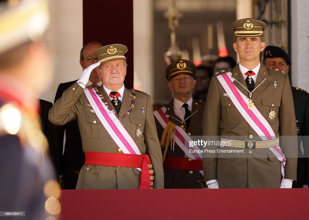 King Juan Carlos of Spain and Prince Felipe of Spain attend the biannual meeting of San Hermenegildo Order on June 3, 2014 in El Escorial, Spain.