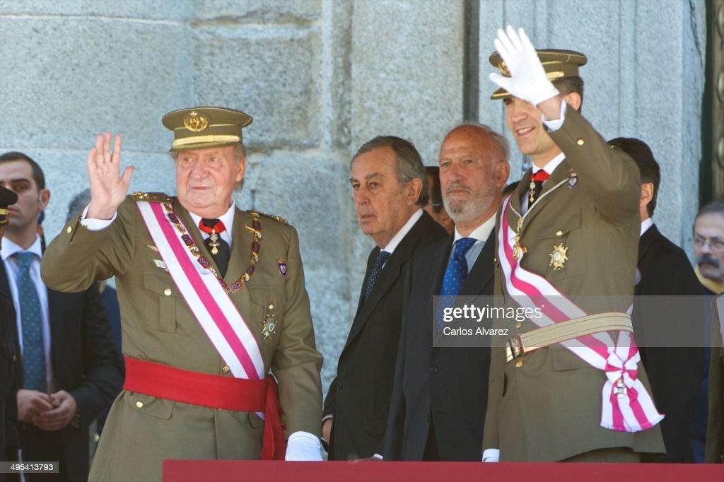 King Juan Carlos of Spain (L) and Prince Felipe of Spain (R) celebrate the bicentenary of San Hermenegildo Order on June 3, 2014 in San Lorenzo de El Escoria, Spain.