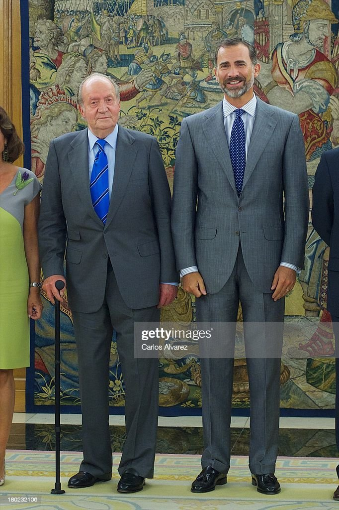 King Juan Carlos of Spain (L) and Prince Felipe of Spain (R) receive members of Madrid 2020 Candidate City at the Zarzuela Palace on September 10, 2013 in Madrid, Spain.