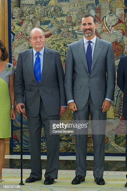 King Juan Carlos of Spain and Prince Felipe of Spain receive members of Madrid 2020 Candidate City at the Zarzuela Palace on September 10 2013 in...