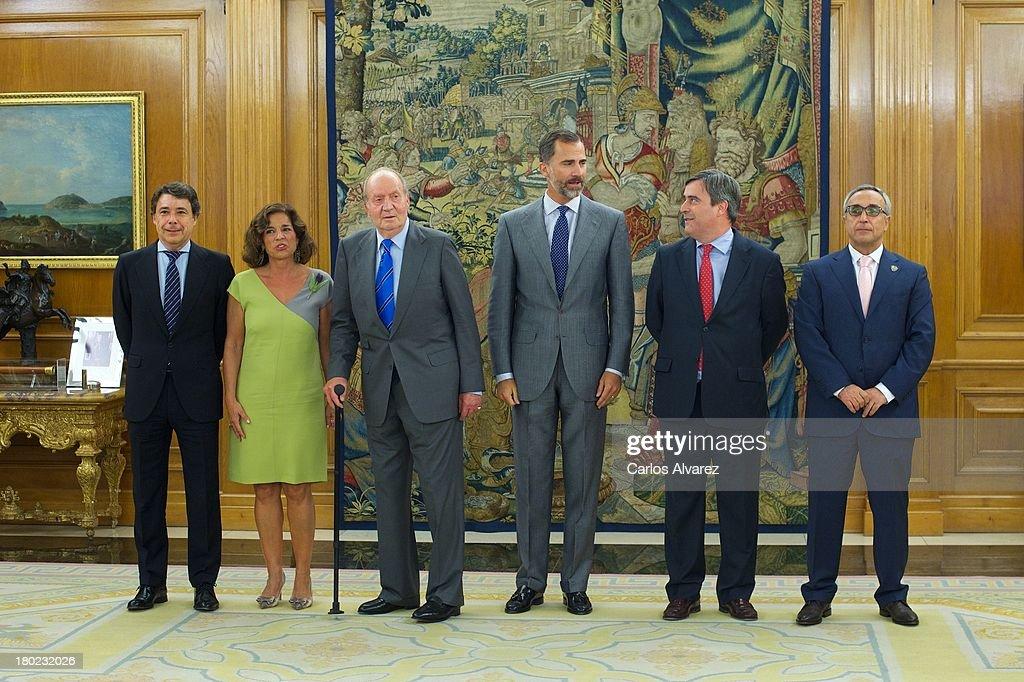 King Juan Carlos of Spain and Prince Felipe of Spain receive Regional President Ignacio Gonzalez Mayor of Madrid Ana Botella Secretary of State for...