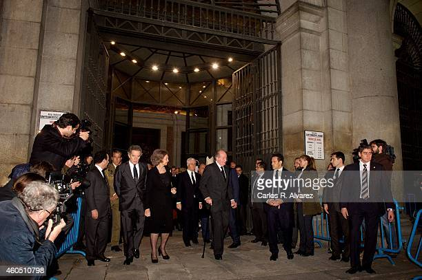 King Juan Carlos of Spain and Queen Sofia of Spain attend a Funeral Service for Duchess of Alba at the Real Basilica de San Francisco el Grande on...