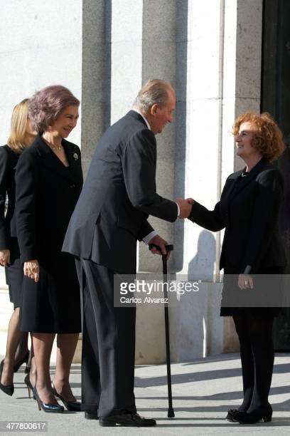 King Juan Carlos of Spain and Queen Sofia of Spain attend the 10th anniversary Mass to pay homage to the victims of the Madrid train bombings at the...