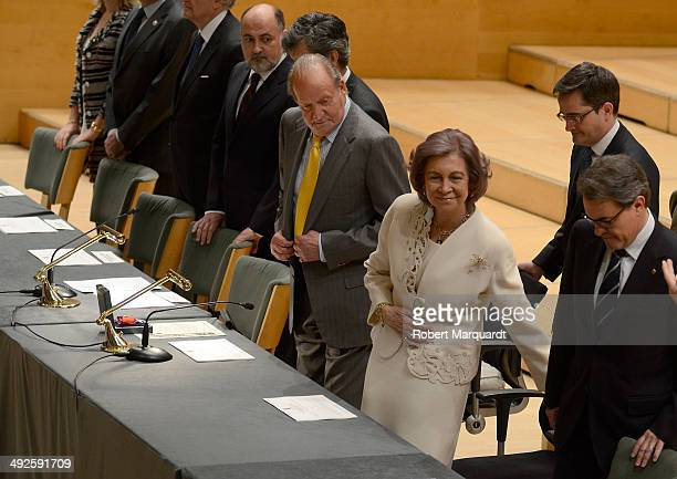 King Juan Carlos of Spain and Queen Sofia of Spain attend the '2014 Judiciary Degree' promotion ceremony at the L'Auditori on May 21 2014 in...