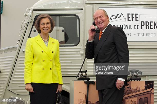 King Juan Carlos of Spain and Queen Sofia of Spain attend the Agencia EFE 75th anniversary exhibition during the 'Rey de Espana' and 'Don Quijote'...
