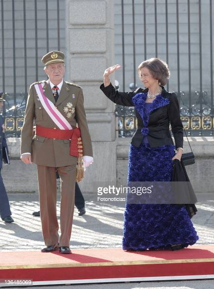 King Juan Carlos of Spain and Queen Sofia of Spain attend the traditional 'Pascua Militar' ceremony at The Royal Palace on January 6 2012 in Madrid...