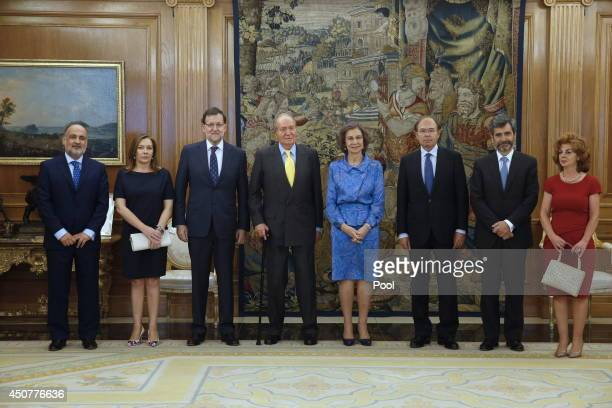 King Juan Carlos of Spain and Queen Sofia of Spain pose with Spanish Prime Minister Mariano Rajoy his wife Elvira Fernandez President of the Spanish...