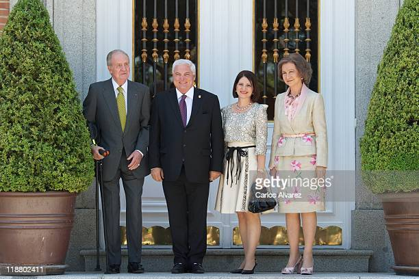 King Juan Carlos of Spain and Queen Sofia of Spain receive Panama's President Ricardo Martinelli and wife Marta Linares de Martinelli at Zarzuela...