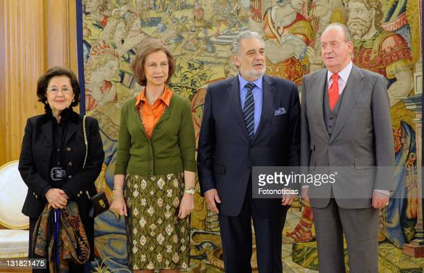 King Juan Carlos of Spain and Queen Sofia of Spain receive Placido Domingo and his wife Marta Ornellas at Zarzuela Palace on January 19 2011 in...