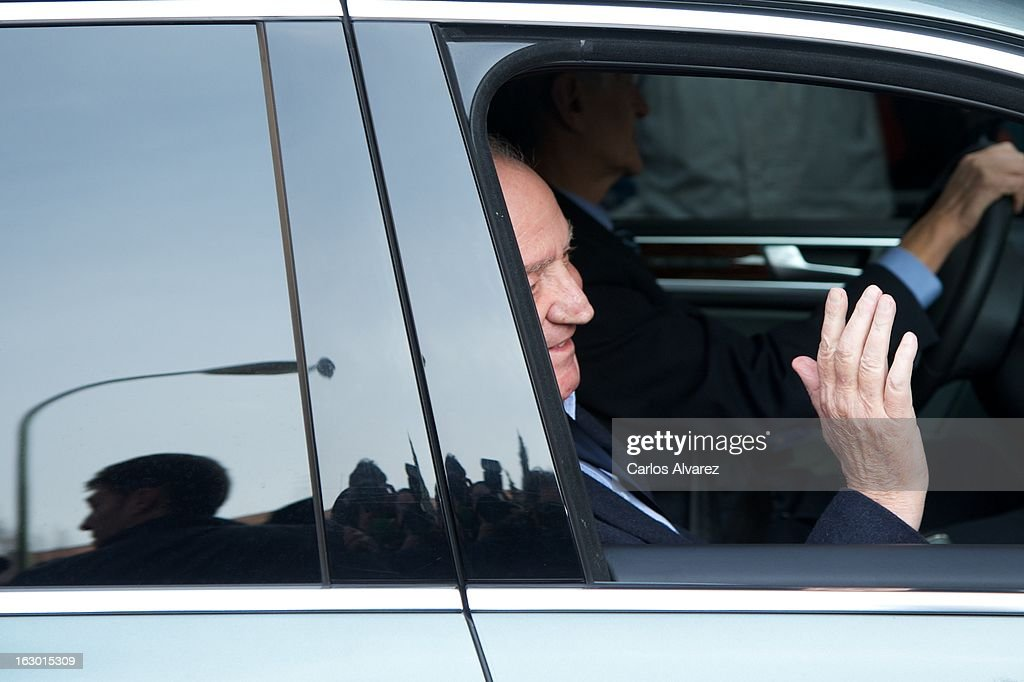 King Juan Carlos of Spain arrives at La Milagrosa Hospital on March 3, 2013 in Madrid, Spain. King Juan Carlos of Spain goes under surgery for a lower back disc hernia at La Milagrosa Hospital on March 3, 2013 in Madrid, Spain. He had hip surgery last November. The King has had several other health issues in the past two years, including knee surgery and the removal of a benign lung tumor.