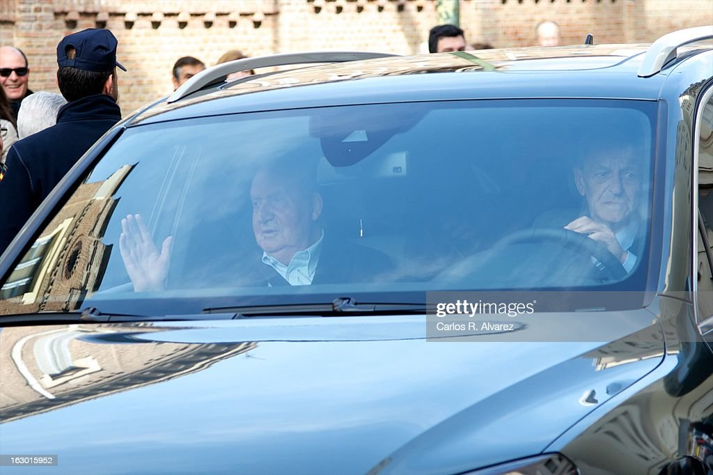 King Juan Carlos of Spain (L) arrives at La Milagrosa Hospital on March 3, 2013 in Madrid, Spain. King Juan Carlos of Spain goes under surgery for a lower back disc hernia at La Milagrosa Hospital on March 3, 2013 in Madrid, Spain. He had hip surgery last November. The King has had several other health issues in the past two years, including knee surgery and the removal of a benign lung tumor.