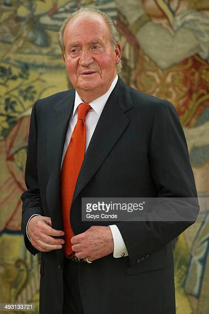 King Juan Carlos of Spain attends a ceremony to receive the annual report from the President of Contitutional Court at Zarzuela Palace on May 22 2014...