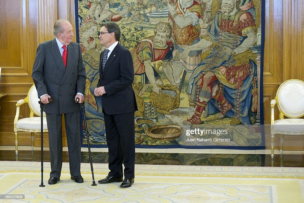 King Juan Carlos of Spain attends an audience with President of the Catalonian regional government Artur Mas at Zarzuela Palace on January 31, 2013 in Madrid, Spain.